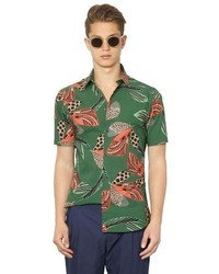 Chemise à manches courtes imprimée vert foncé