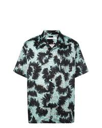Chemise à manches courtes imprimée vert foncé Givenchy
