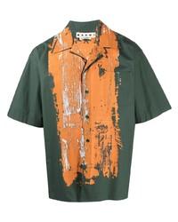 Chemise à manches courtes imprimée vert foncé Marni