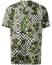 Chemise à manches courtes imprimée verte