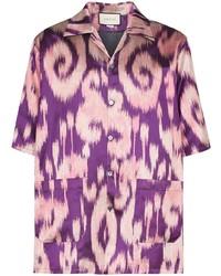 Chemise à manches courtes imprimée violette Gucci