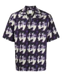 Chemise à manches courtes imprimée violette Paul Smith