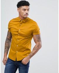 Chemise à manches courtes jaune ASOS DESIGN