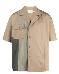 Chemise à manches courtes marron clair Feng Chen Wang