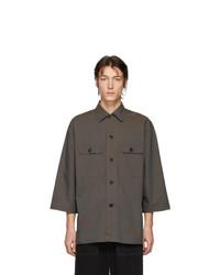 Chemise à manches courtes marron foncé Lemaire