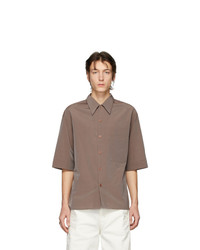 Chemise à manches courtes marron Lemaire