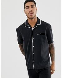 Chemise à manches courtes noire et blanche ASOS DESIGN