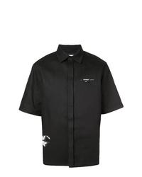 Chemise à manches courtes noire et blanche Off-White