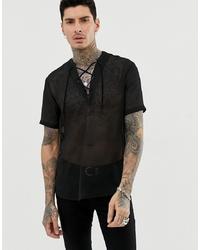 Chemise à manches courtes noire ASOS DESIGN