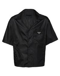 Chemise à manches courtes noire Prada