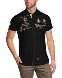 Chemise à manches courtes noire Redbridge