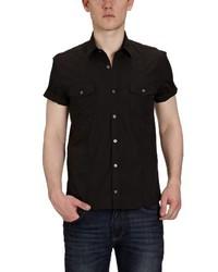 Chemise à manches courtes noire Selected
