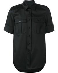 Chemise à manches courtes noire Yang Li