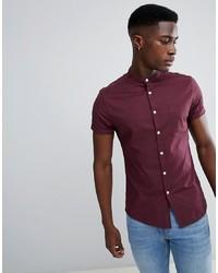 Chemise à manches courtes pourpre foncé ASOS DESIGN