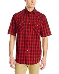 Chemise à manches courtes rouge et noir