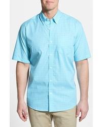 Chemise à manches courtes turquoise