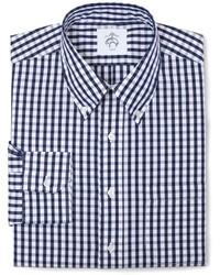 Chemise à manches longues à carreaux blanc et bleu marine