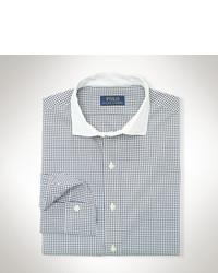 Chemise à manches longues à carreaux blanche et noire