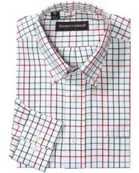 Chemise à manches longues à carreaux blanche