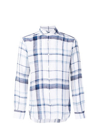 Chemise à manches longues à carreaux blanche Barba