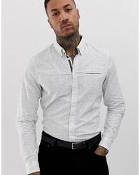 Chemise à manches longues à carreaux blanche BLEND