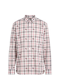 Chemise à manches longues à carreaux blanche Burberry