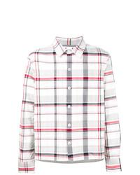 Chemise à manches longues à carreaux blanche Moncler