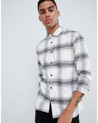 Chemise à manches longues à carreaux blanche ONLY & SONS