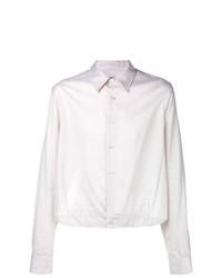 Chemise à manches longues à carreaux blanche Raf Simons