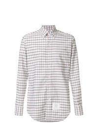 Chemise à manches longues à carreaux blanche Thom Browne