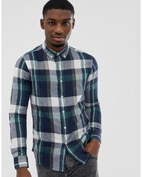 Chemise à manches longues à carreaux bleu canard Farah