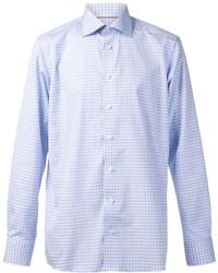 Chemise à manches longues à carreaux bleu clair