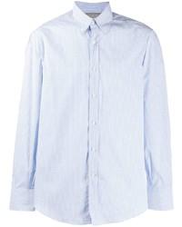 Chemise à manches longues à carreaux bleu clair Brunello Cucinelli
