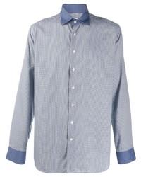 Chemise à manches longues à carreaux bleu clair Etro