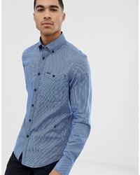 Chemise à manches longues à carreaux bleu clair G Star