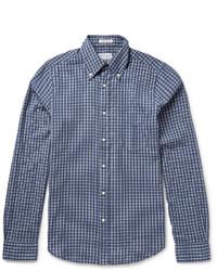 Chemise à manches longues à carreaux bleu clair Gant