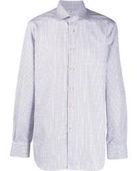 Chemise à manches longues à carreaux bleu clair Kiton