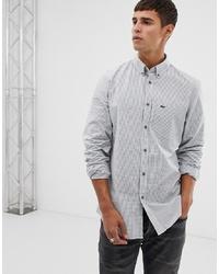 Chemise à manches longues à carreaux bleu clair Lacoste
