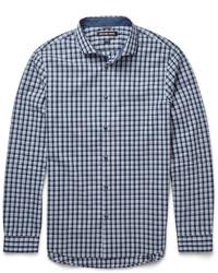 Chemise à manches longues à carreaux bleu clair Michael Kors