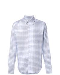 Chemise à manches longues à carreaux bleu clair Prada