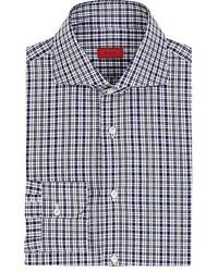Chemise à manches longues à carreaux bleu marine et blanc