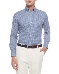 Chemise à manches longues à carreaux bleu marine