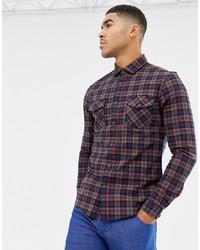 Chemise à manches longues à carreaux bleu marine ASOS DESIGN