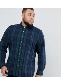 Chemise à manches longues à carreaux bleu marine Farah