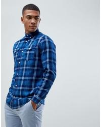 Chemise à manches longues à carreaux bleu marine Jack & Jones