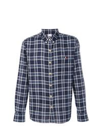 Chemise à manches longues à carreaux bleu marine Moncler