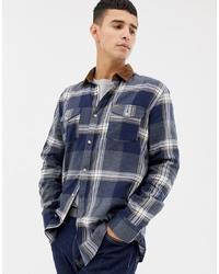 Chemise à manches longues à carreaux bleu marine ONLY & SONS