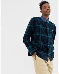 Chemise à manches longues à carreaux bleu marine Weekday