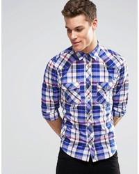 Chemise à manches longues à carreaux bleue Esprit