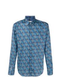 Chemise à manches longues à carreaux bleue Etro